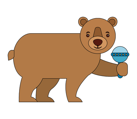 bear grizzly with jingle bell isolated icon vector illustration design