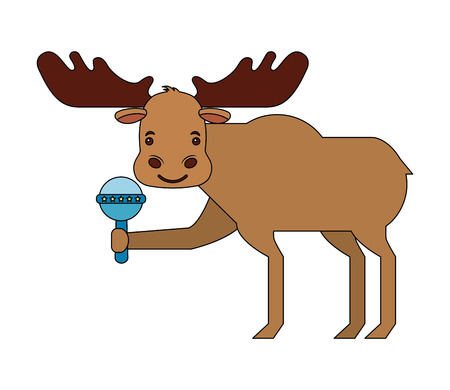 reindeer animal with jingle bell isolated icon vector illustration design