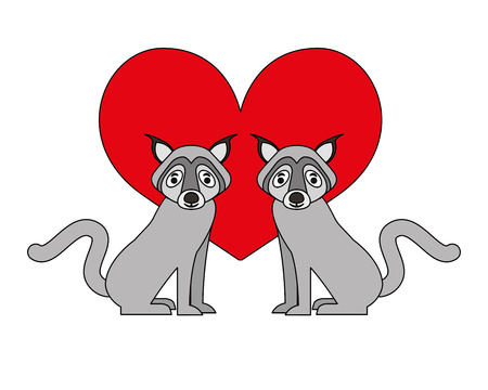 wolfs animal with heart isolated icon vector illustration design
