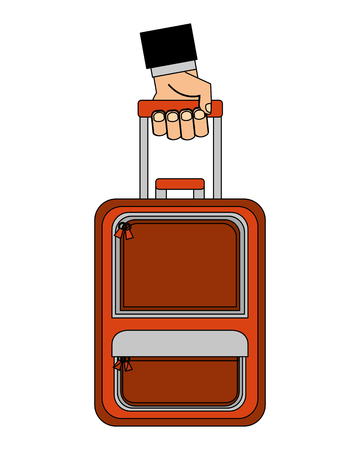 hand with suitcase travel tourism icon vector illustration design