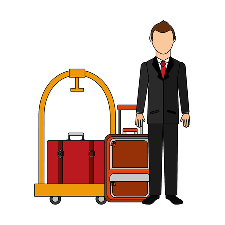 businessman with suitcase travel tourism and cart hotel vector illustration design Stock Illustratie