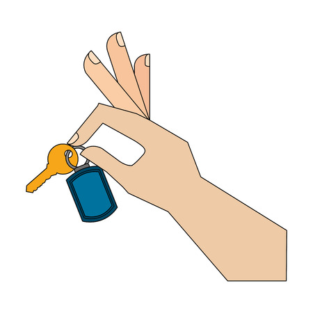 hand with key isolated icon vector illustration design