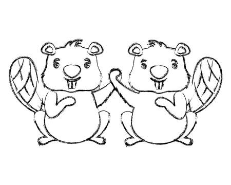 beavers animal isolated icon vector illustration design Illustration