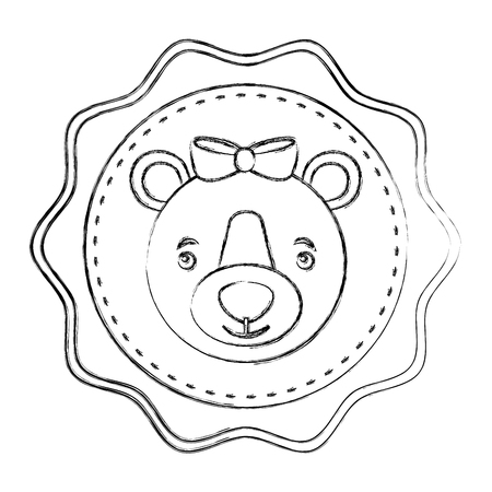 lace female bear grizzly icon vector illustration design 向量圖像