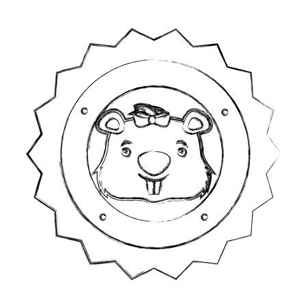 lace female beaver animal isolated icon vector illustration design