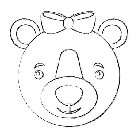 head female bear grizzly isolated icon vector illustration design