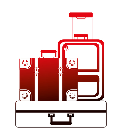 set suitcases travel tourism icon vector illustration design