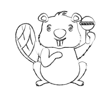 Bever dier met jingle bell geïsoleerd pictogram vector illustratie ontwerp Vector Illustratie