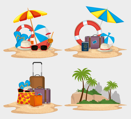 summer holidays set icons vector illustration design