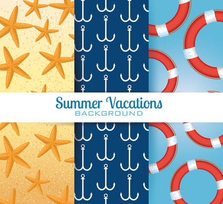 summer vacations set patterns backgrounds vector illustration design