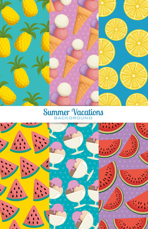 fresh fruits set patterns backgrounds vector illustration design Ilustrace