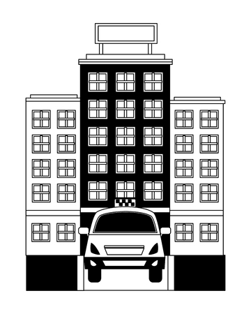 taxi car service with hotel isolated icon vector illustration design Ilustração