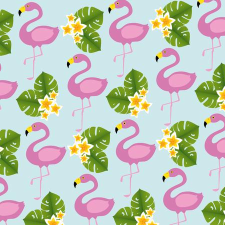 flamingos birds and flowers pattern vector illustration design Ilustração
