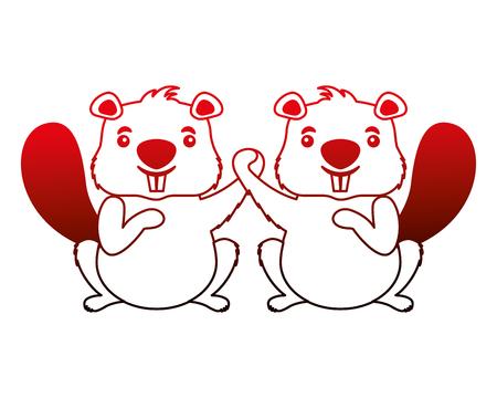 beavers animal isolated icon vector illustration design Stock Illustratie