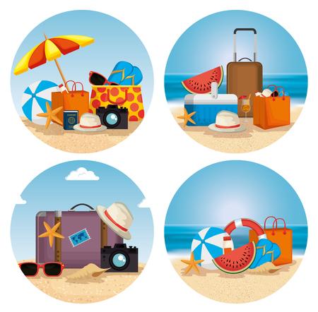 summer holidays beach scene vector illustration design