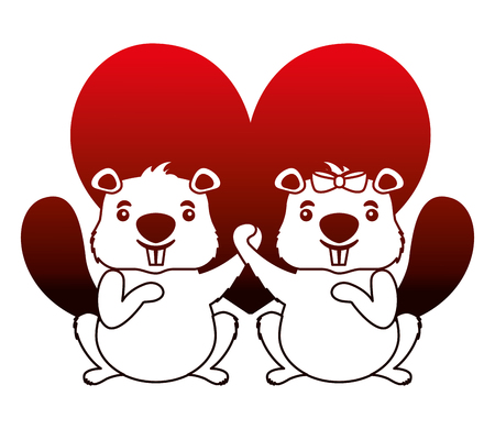 beavers animal with heart isolated icon vector illustration design 向量圖像