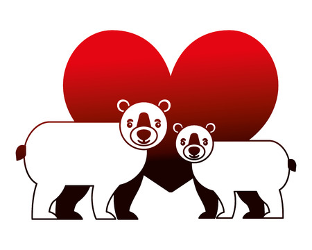 bears grizzly with heart isolated icon vector illustration design 向量圖像