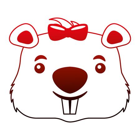 head female beaver animal isolated icon vector illustration design