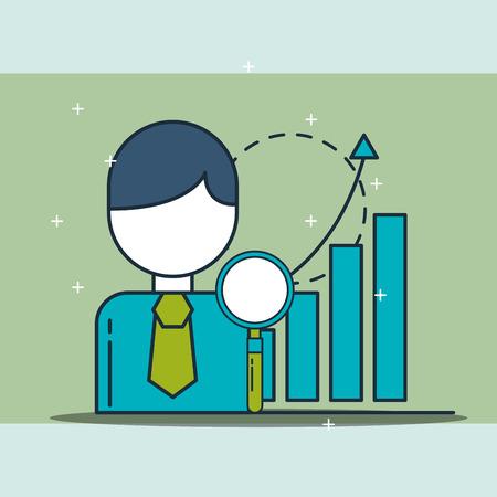 businessman search statistics diagram digital marketing vector illustration