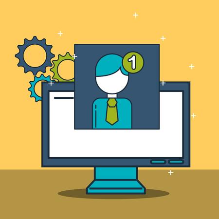 digital marketing computer profile notification vector illustration
