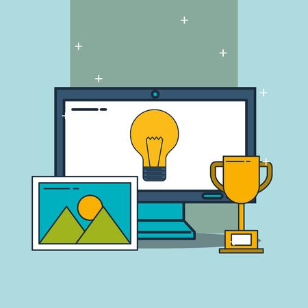 computer trophy creativity digital marketing vector illustration