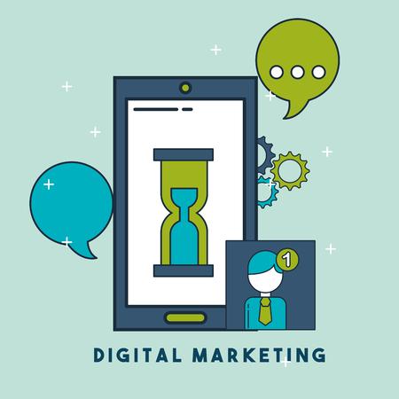 smartphone clock speech bubble email digital marketing vector illustration Иллюстрация