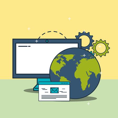 computer world website email digital marketing vector illustration Illustration