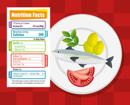 gezonde voeding met voedingsfeiten vector illustratie ontwerp