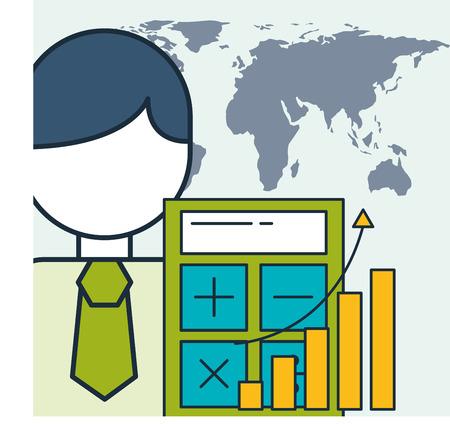 businessman financial business statistics graph world vector illustration Ilustração