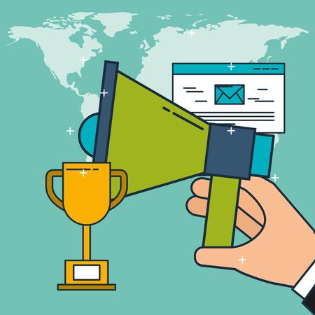 hand holding speaker advertisement email digital marketing vector illustration Foto de archivo - 103625691