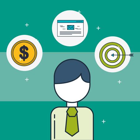 businessman money target and email digital marketing vector illustration 일러스트
