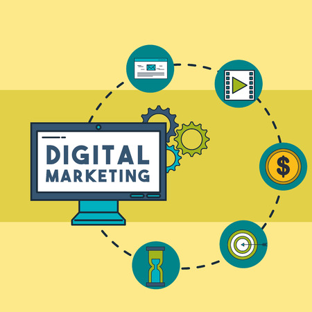digital marketing computer email video money target time connected vector illustration 일러스트