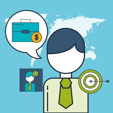 digital marketing businessman money target world vector illustration