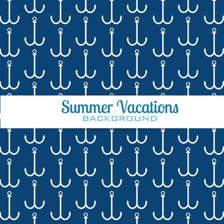 summer vacations anchors pattern vector illustration design