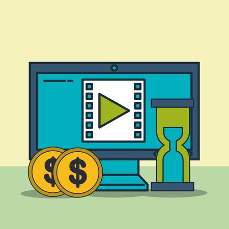 computer video time money digital marketing vector illustration