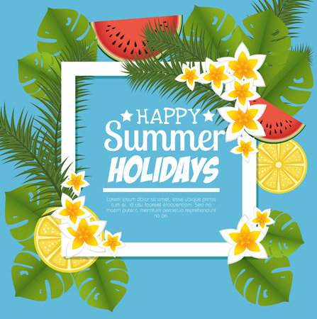 summer holidays floral decoration vector illustration design