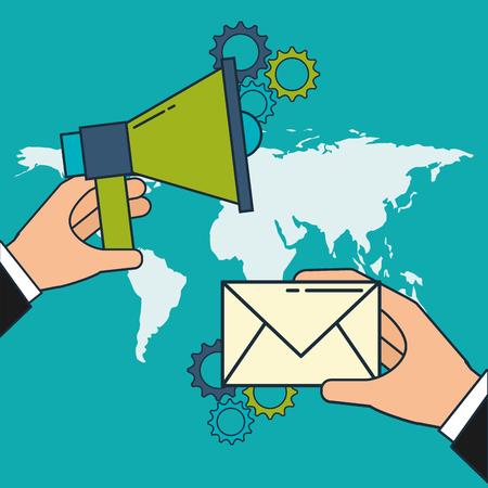 hand with megaphone and email world digital marketing vector illustration Illustration