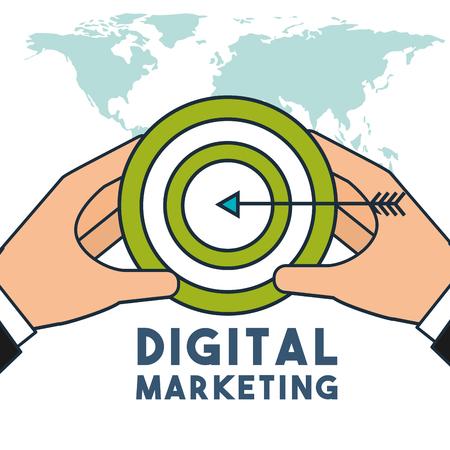 hands holding target strategy business digital marketing vector illustration Ilustração