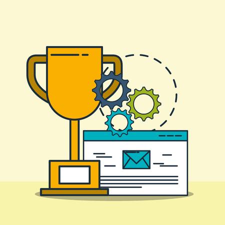 trophy email work gears digital marketing vector illustration