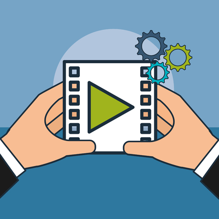 hands with video player digital marketing vector illustration