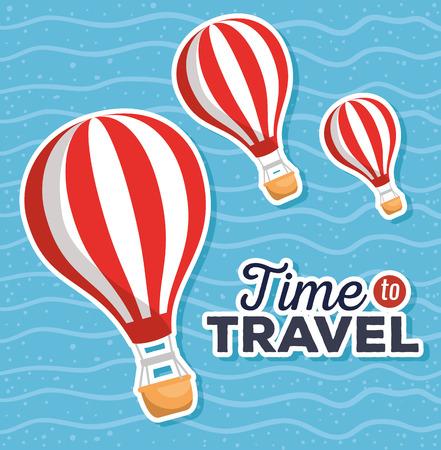 summer sale with balloon air hot vector illustration design