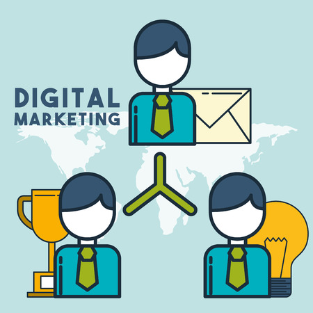 organization chart email digital marketing vector illustration Illustration