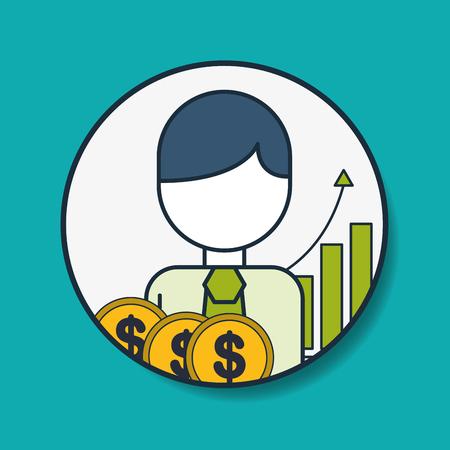 businessman money finance statistics digital marketing vector illustration Illustration