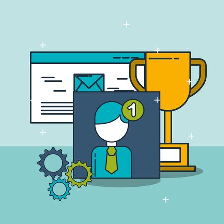 email trophy notification digital marketing vector illustration Banque d'images - 103627616