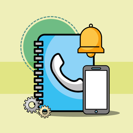 address contact book smartphone and bell customer service vector illustration