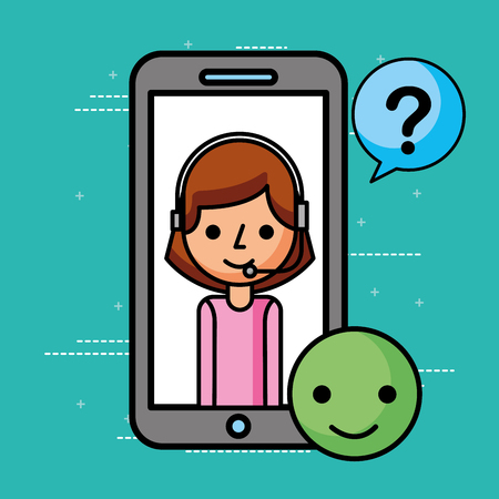 smartphone agent good questions mark customer service vector illustration