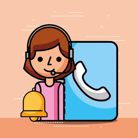 Mujer operador libro de contacto y campana servicio al cliente ilustración vectorial