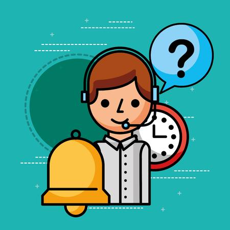 operator clock support customer service vector illustration Illustration