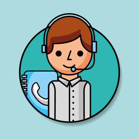 portrait operator with headset and contact book customer service vector illustration Vettoriali