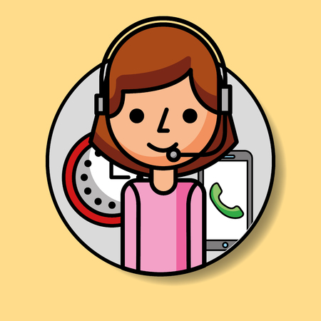 portrait operator woman with headset phone and clock customer service vector illustration Illustration